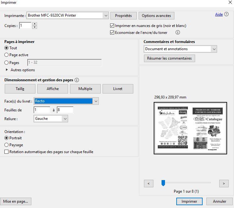 imprimer un pdf en livret