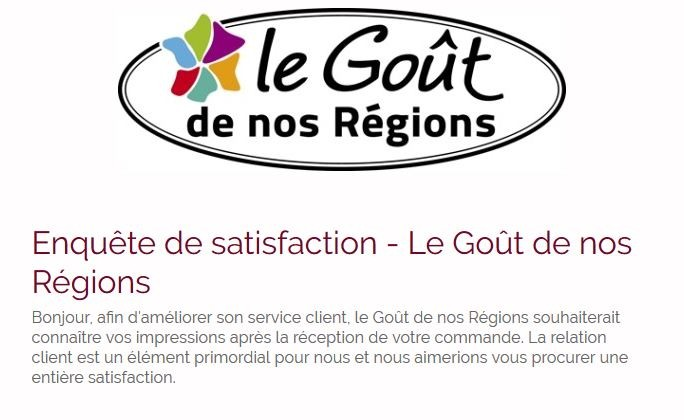 enquete satisfaction le gout de nos regions
